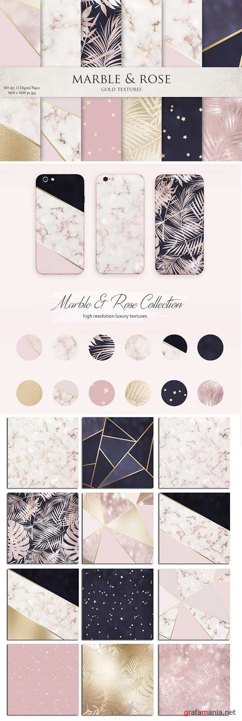 Marble Rose Gold Navy Textures - 2774387