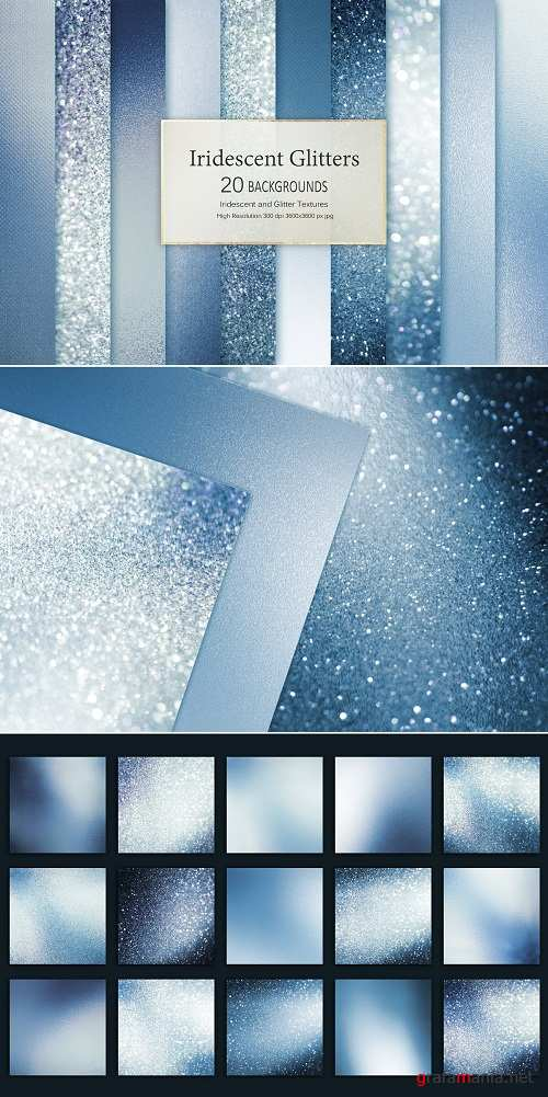 Blue Iridescent and Glitter Textures - 3484454