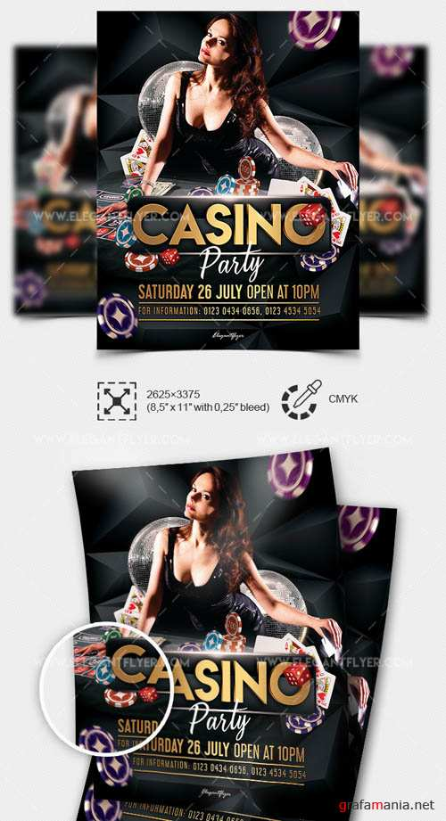 Casino Party V1 2019 PSD Flyer Template + Facebook Cover + Instagram Post