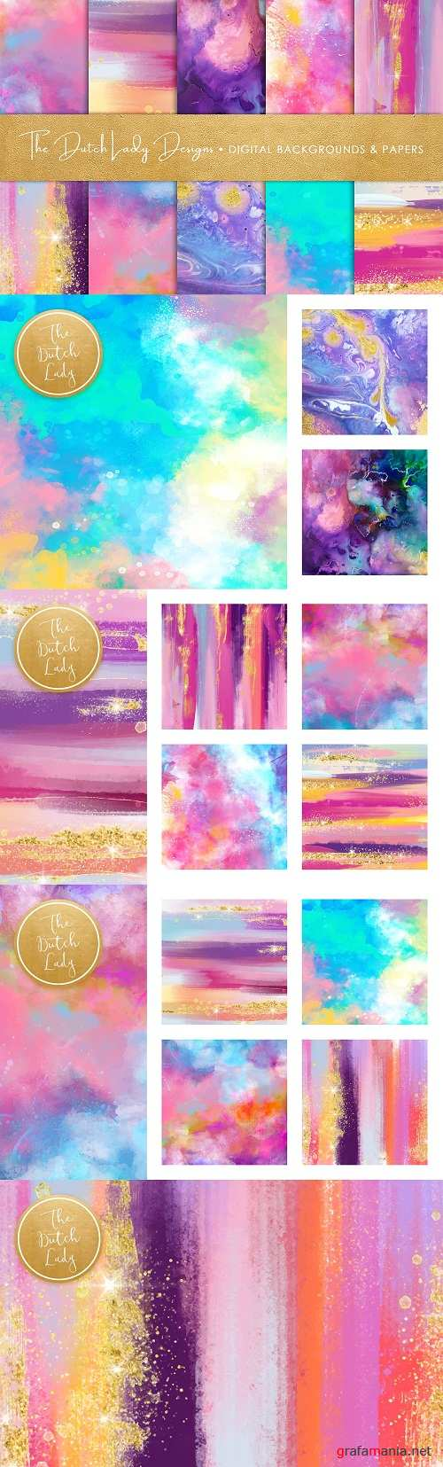 Brush Strokes & Stains Backgrounds - 3586939