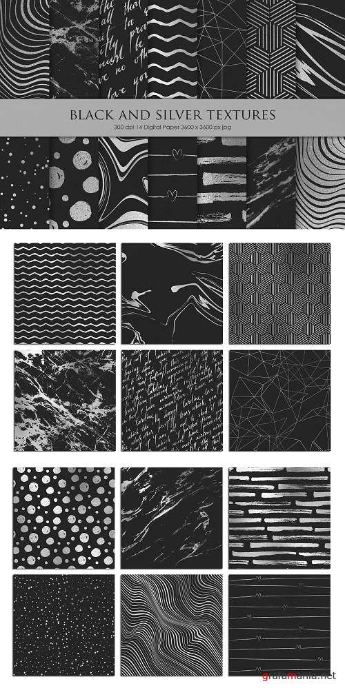 Black and Silver Metallic Textures - 2286630