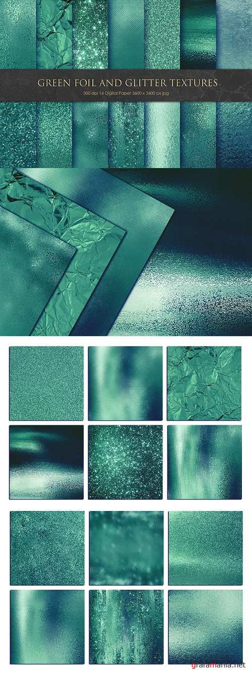 Green Foil and Glitter Textures, Bacgrounds - 3330787