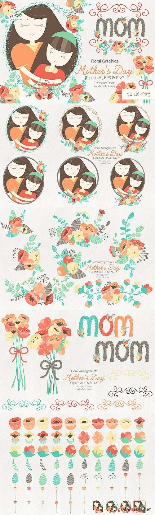 Mother's Day Clipart & Vector #09 - 2350866