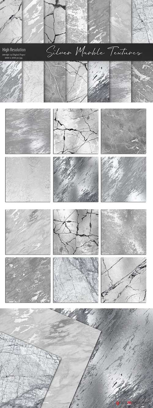 Silver Marble Textures, Backgrounds - 3301849