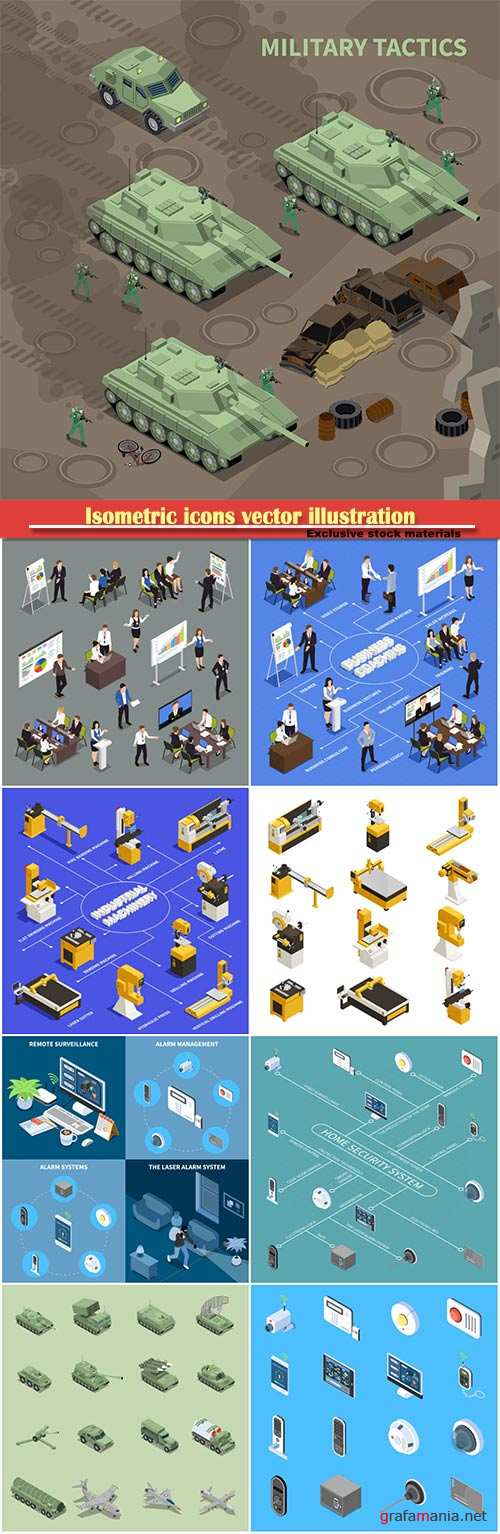 Isometric icons vector illustration, banner design template # 3