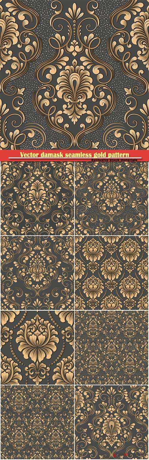 Vector damask seamless gold pattern
