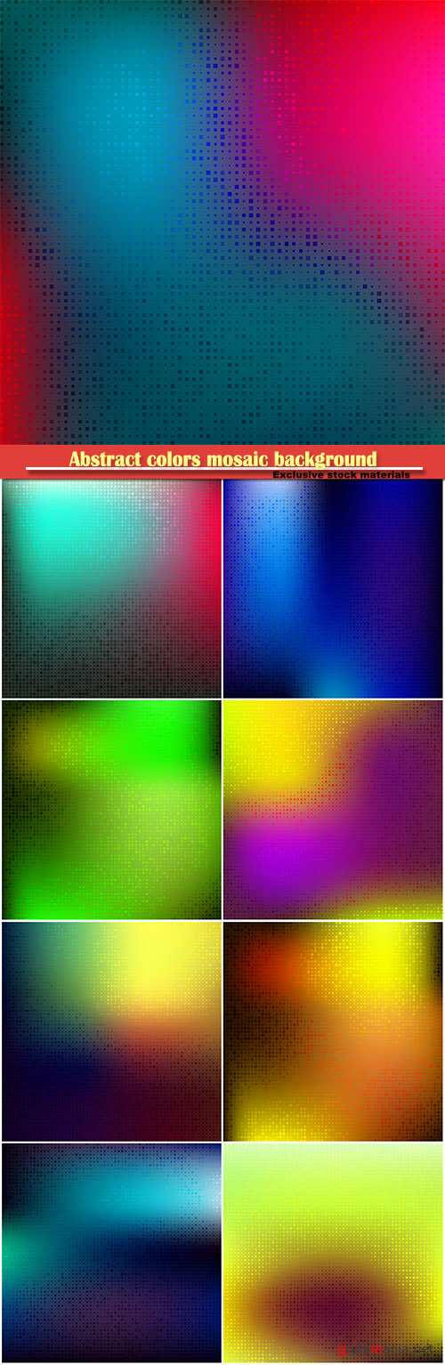 Abstract colors mosaic background with halftone gradient effect