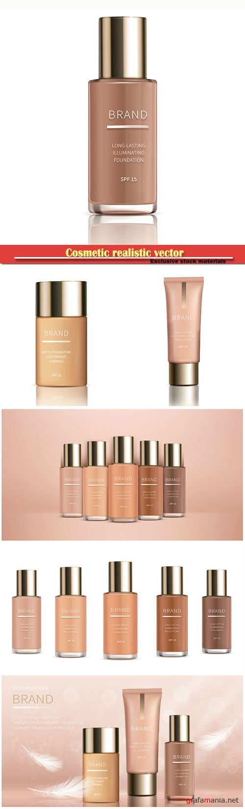 Cosmetic realistic vector, foundation for perfect makeup, decorative cosmetics, colorstay foundation
