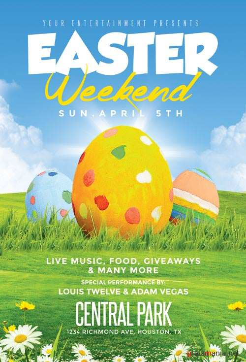 Easter Weekend psd flyer template