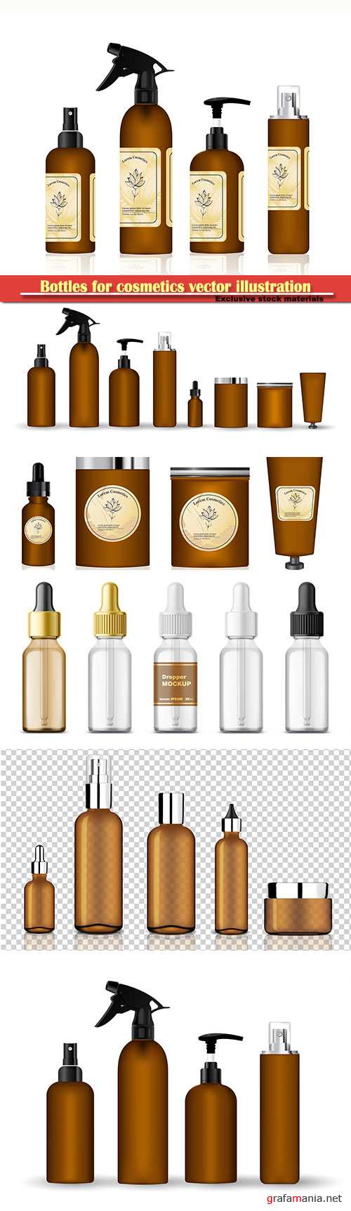 Bottles for cosmetics vector illustration