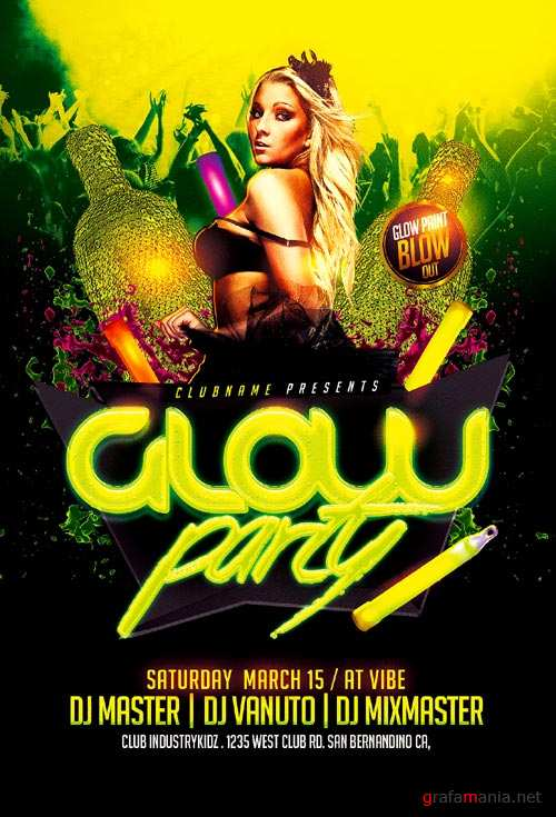 Glow Party psd flyer template