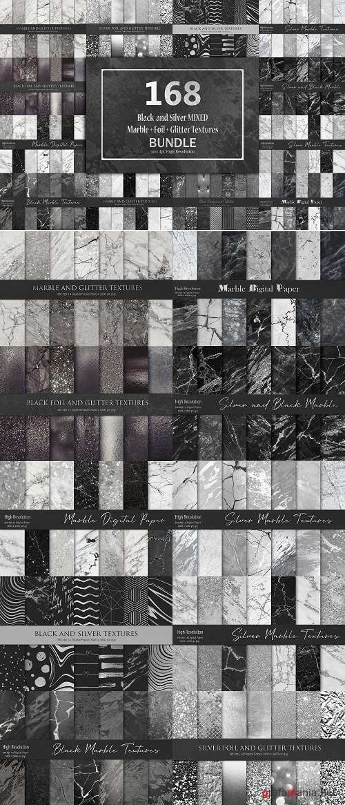 Black and Silver Marble+Foil Texture - 3344055
