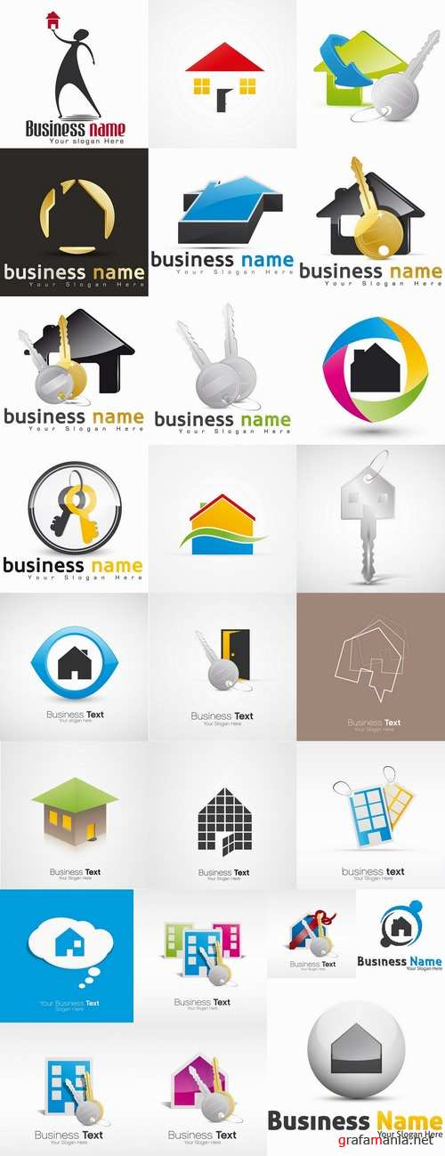 Logo icon web design flat house keys vector image 25 EPS