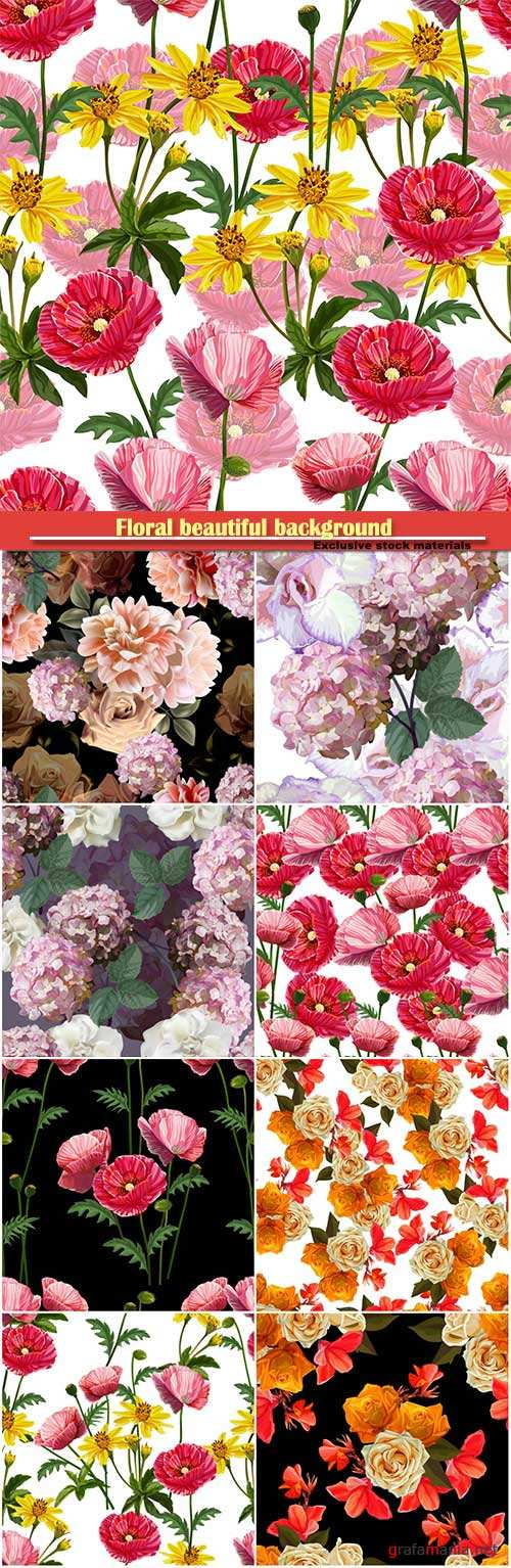 Floral beautiful background with rose, hydrangea, poppy and lilly vector illustration
