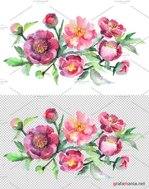 Bouquet with pink peonies Watercolor - 3611907