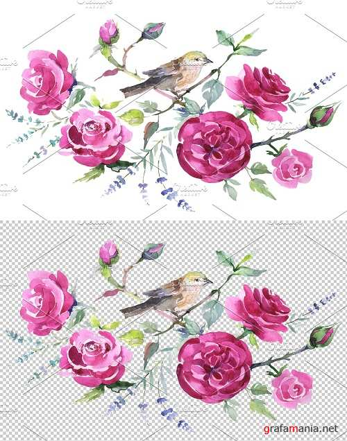 Bouquet with roses and a bird - 3612330