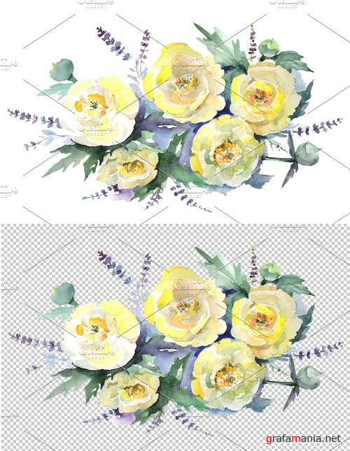Bouquet of yellow flowers Watercolor - 3611662