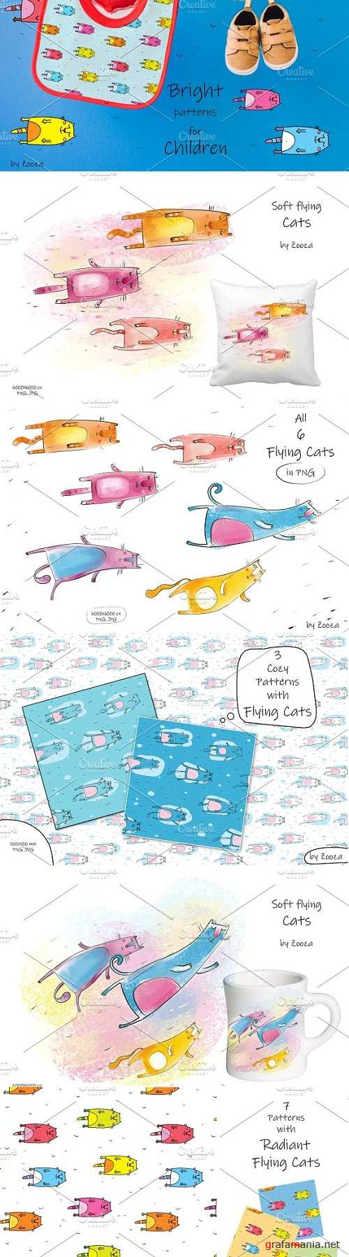 Flying Cats- patterns, illustrations - 3409058