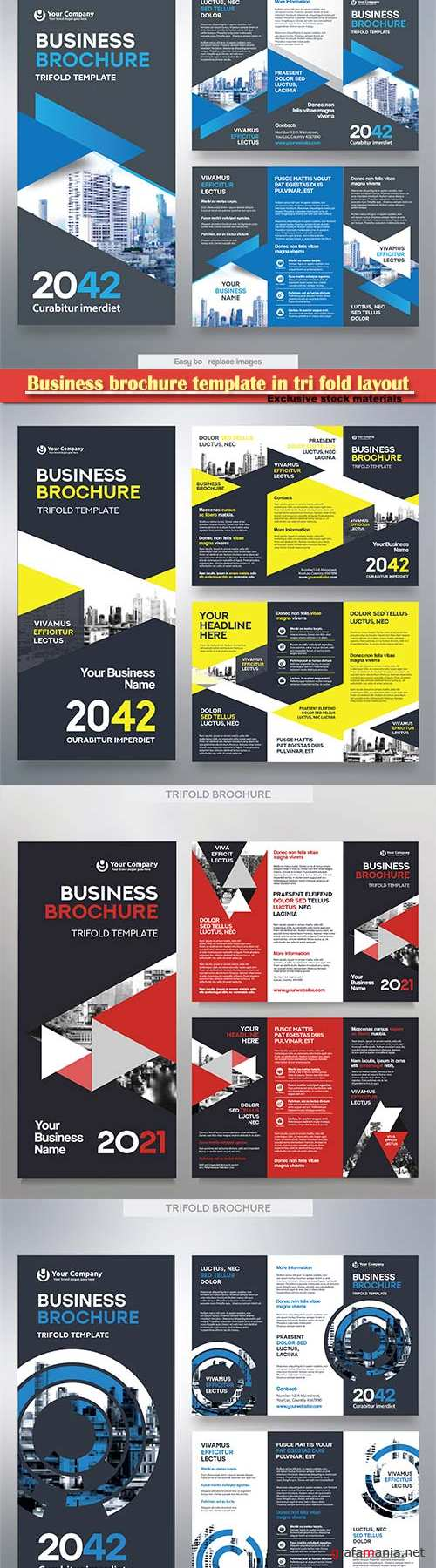 Business brochure template in tri fold layout, corporate design leaflet with replacable image