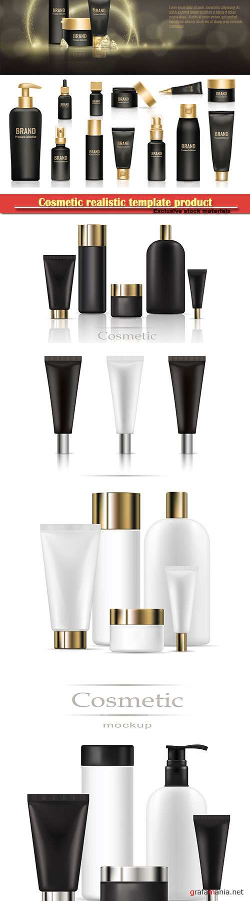 Cosmetic realistic template product package, beauty bottle