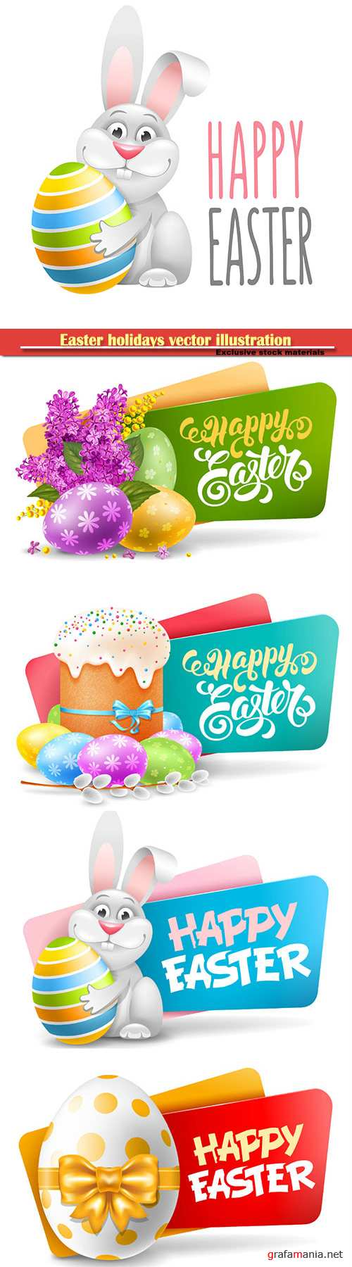 Easter holidays vector illustration, spring flowers card design template