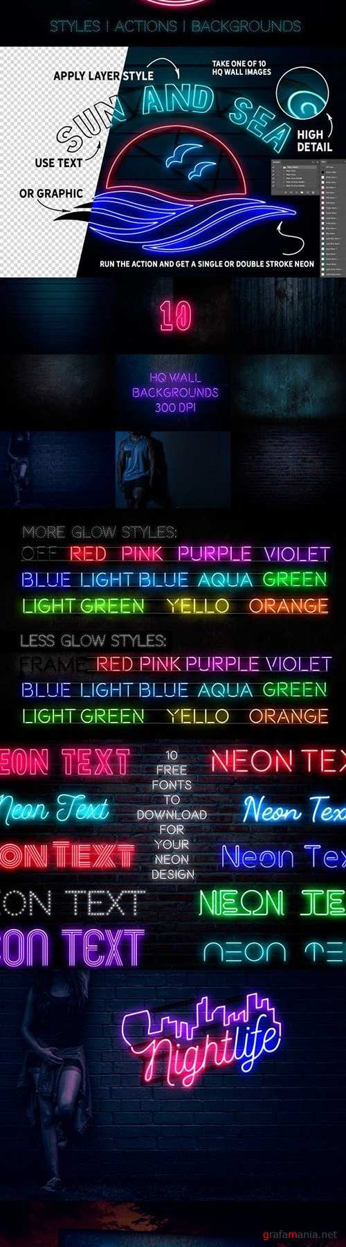 Neon Text Layer Styles & Extras 23426935