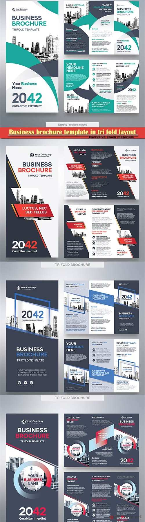Business brochure template in tri fold layout, corporate design vector illustration