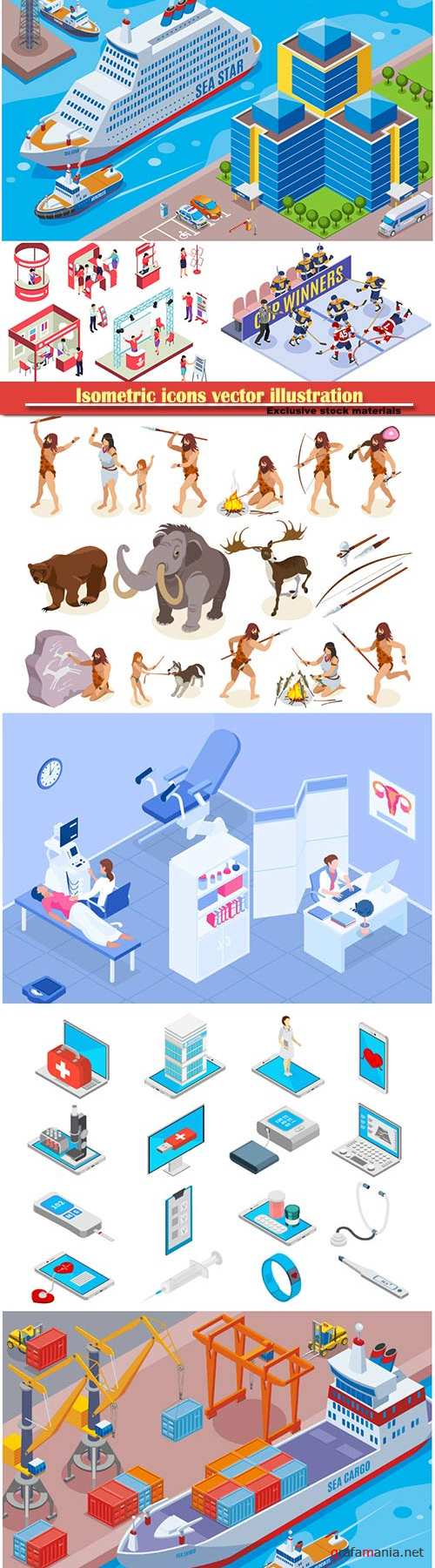Isometric icons vector illustration, banner design template # 25