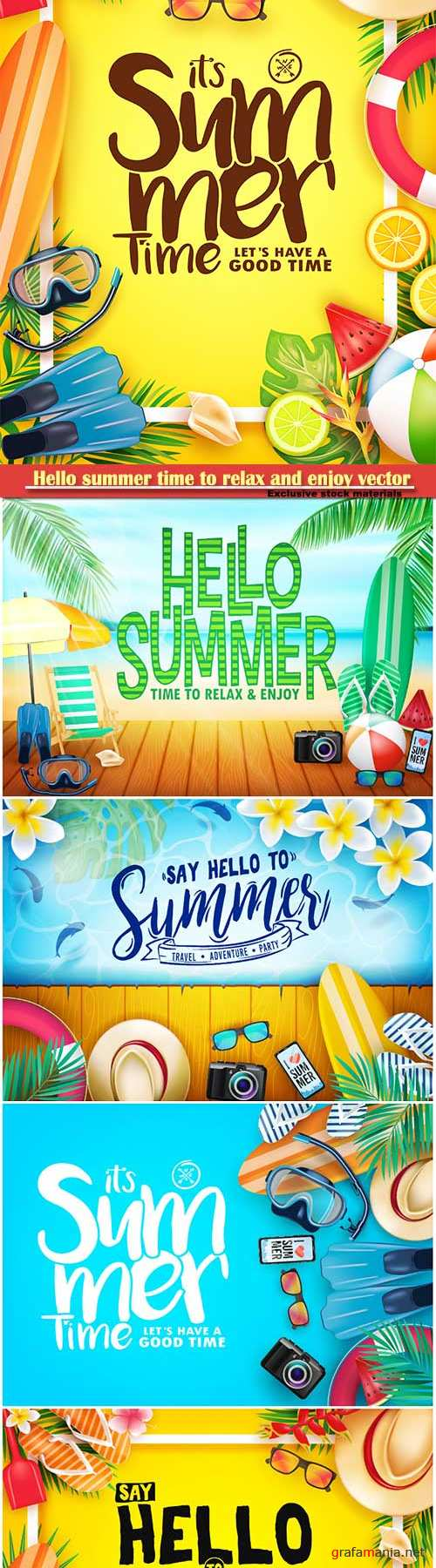 Hello summer time to relax and enjoy vector illustration