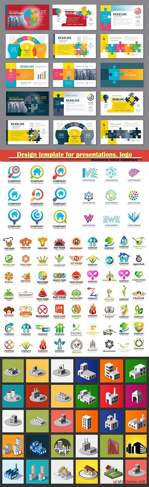 Design template for presentations, logo icons and vector isometry