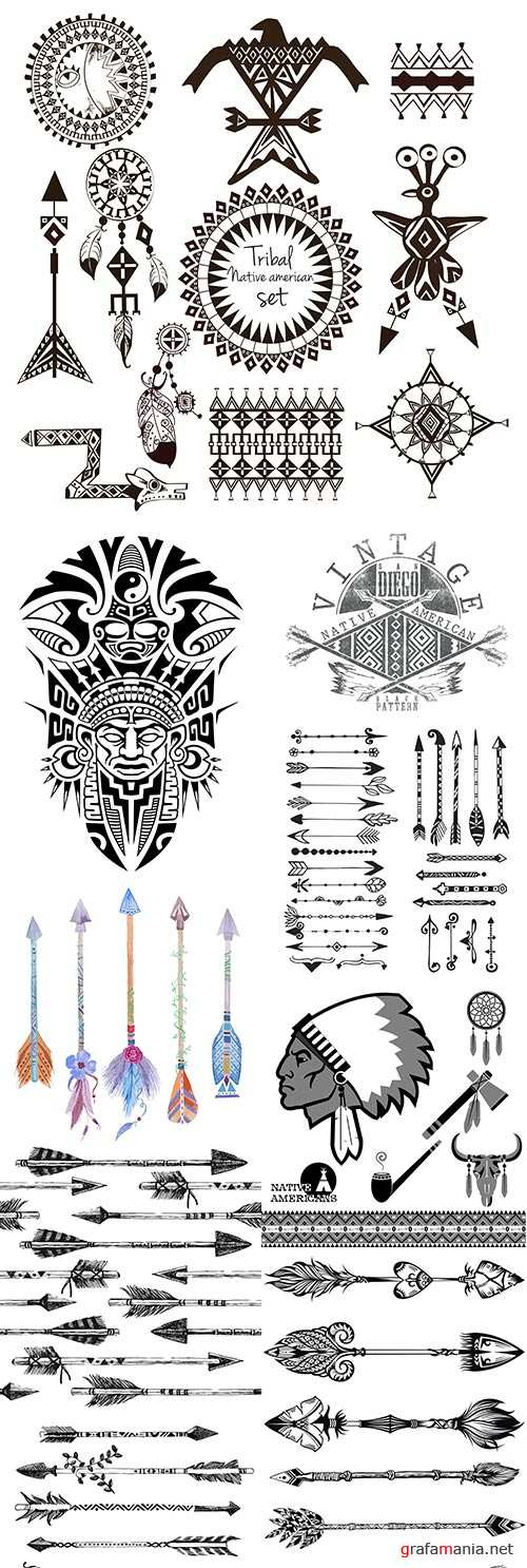 Decorative arrows Indians and feather tip