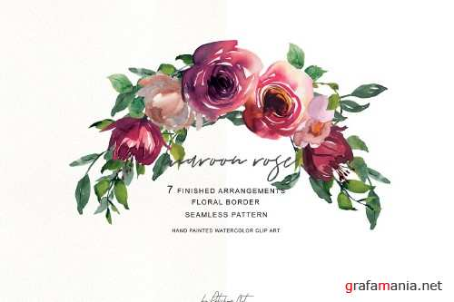 Watercolor Maroon Rose Clipart - 3036480