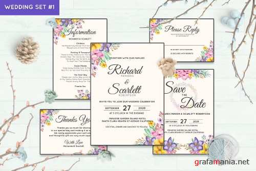 Wedding Invitation Set #1 Watercolor Floral Flower Style - 238459