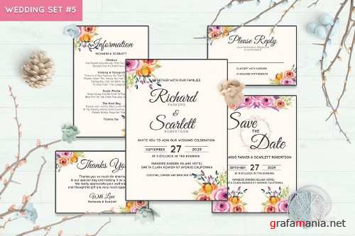 Wedding Invitation Set #5 Watercolor Floral Flower Style - 239682