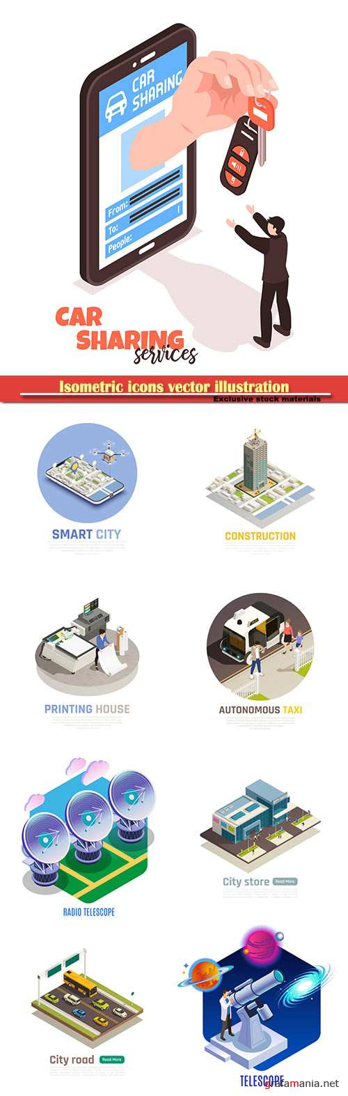 Isometric icons vector illustration, banner design template # 34