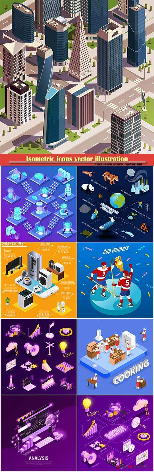 Isometric icons vector illustration, banner design template # 35