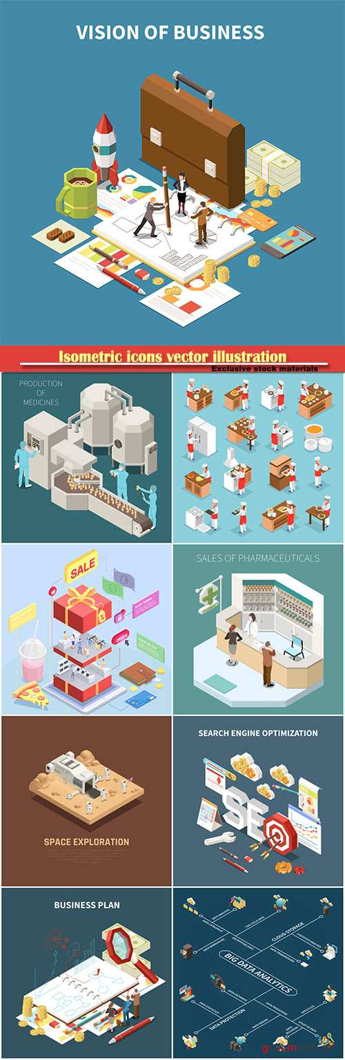Isometric icons vector illustration, banner design template # 36