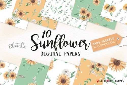 Sunflower Watercolor Seamless Patterns