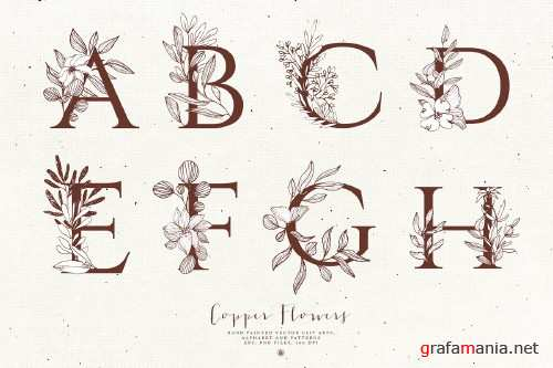 Copper Flowers and Alphabet - 3686805