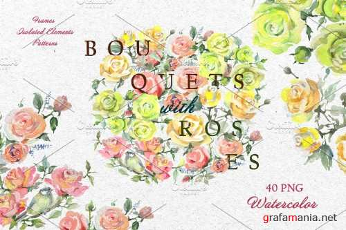 Bouquets with roses Yellow - 3688417