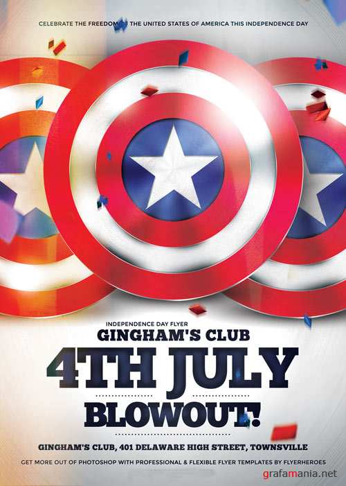 4th July Blowout psd flyer template