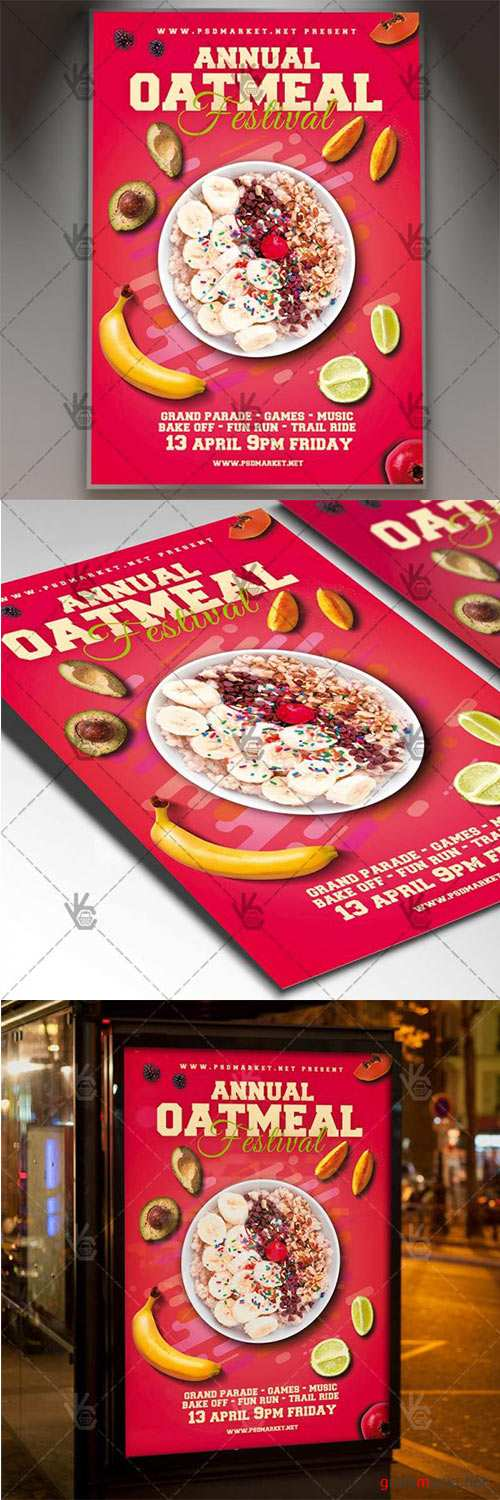 Oatmeal Festival Flyer – Food PSD Template