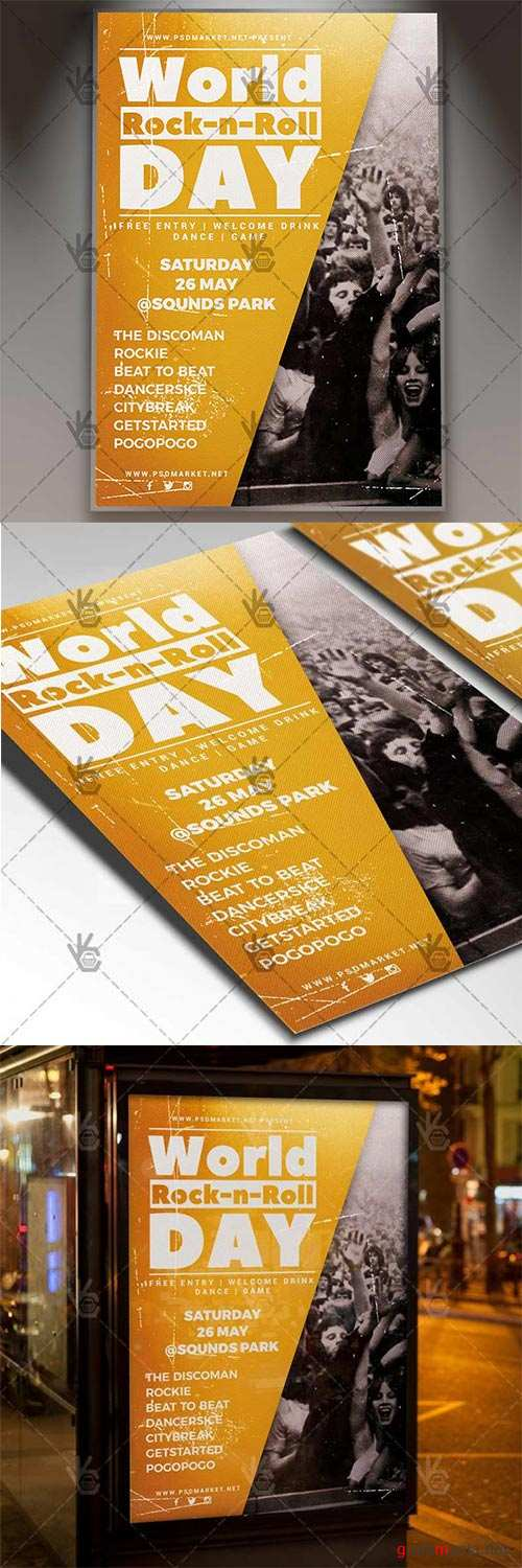 Rock-n-Roll Day Flyer – Rock PSD Template