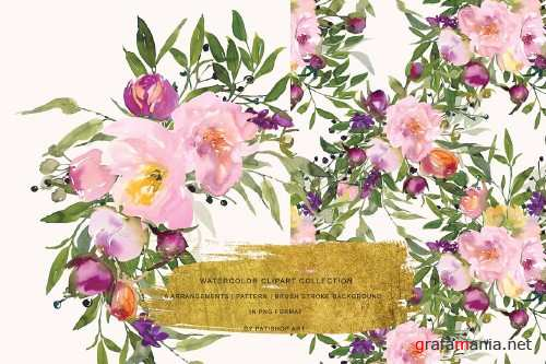 Watercolor Pink Peony Clipart 3695428
