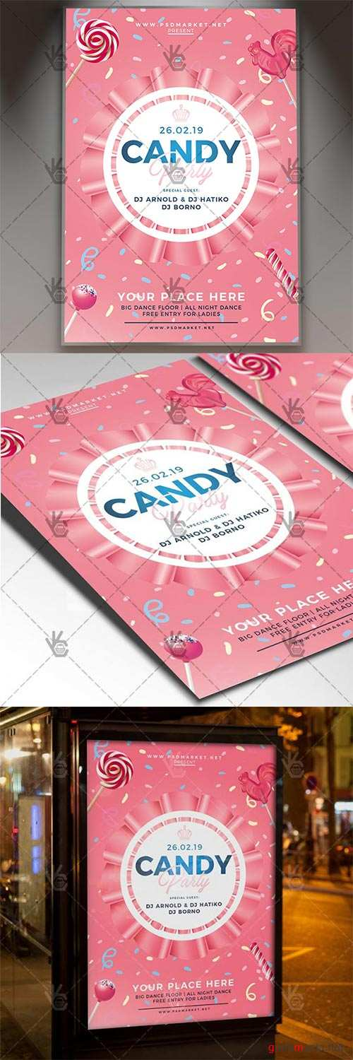 Candy Party – Club Flyer PSD Template