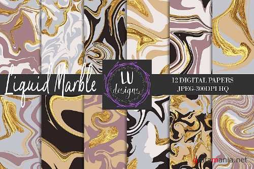 Liquid Marble Digital Papers, Marble Patterns, Gold Marble - 129705