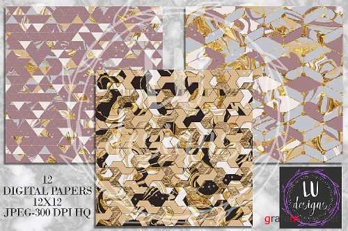 Geometric Marble Digital Papers, Geometric Backgrounds - 129722