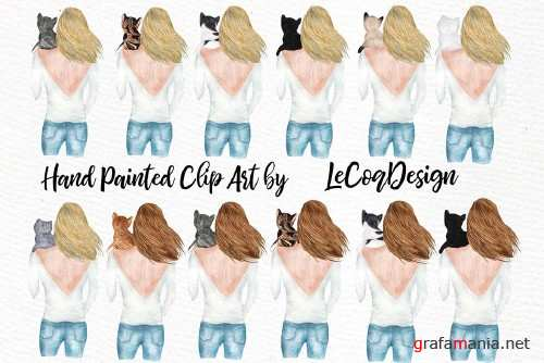 Girls and Cats Clipart Cat Lover - 3649456