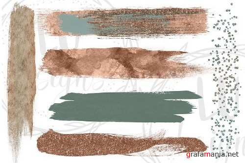 Green and Copper Brush Strokes - 51493