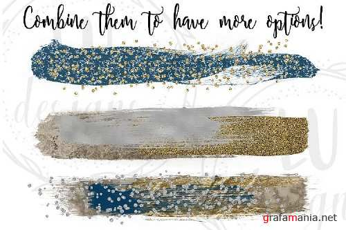 Gold, Silver, and Navy Blue Brush Strokes - 82635